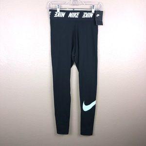 New Nike Small Cotton Black Sky Blue Check Legging